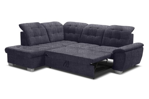 Pull-out bed 125 x 186 cm. Corner Sofa with High Backrest, Reclining Headrests, Bed and Storage - Hamilton
