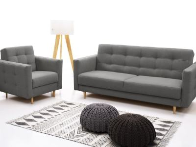 Sofa Bed and Matching Armchair in Scandinavian Style - Karlstad