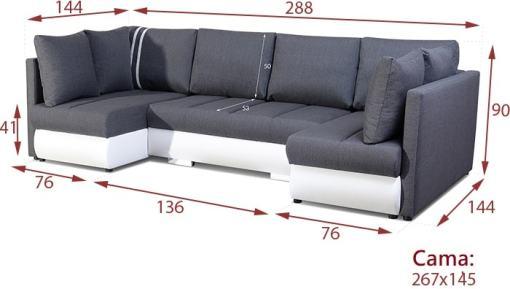 Medidas del sofá pequeño en forma de U modelo Bora