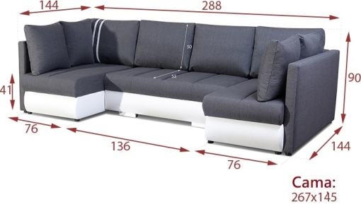 Dimensions. Small U-shaped Sofa with Bed, 2 Chaise Longues, 3 Storages - Bora
