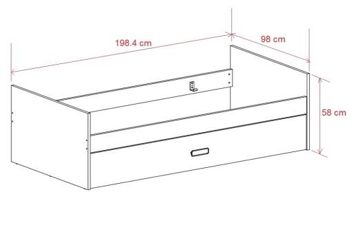 Medidas. Cama con compartimiento para cama adicional - Rimini
