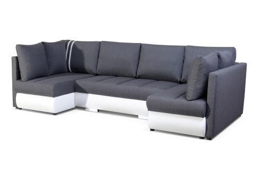 Pequeño sofá en U con cama, 2 chaise longues y 3 arcones - Bora