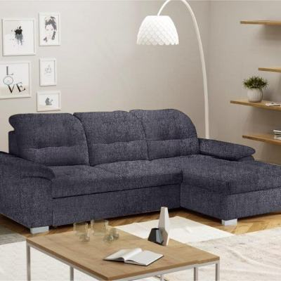 Chaise Longue Sofa with High Backrest, Reclining Headrests, Bed and Storage - Windzor. Right Corner, Grey Inari 94 Fabric