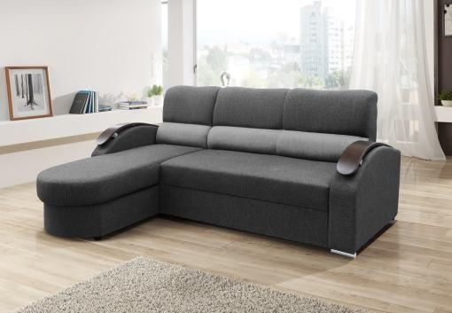 Sofá chaise longue cama con brazos de madera - Padua. Color gris. Chaise longue lado izquierdo