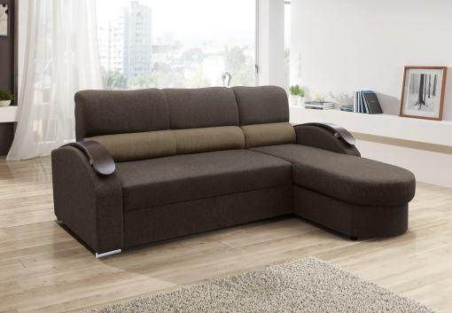 Sofá chaise longue cama con brazos de madera - Padua. Color marrón. Chaise longue lado derecho