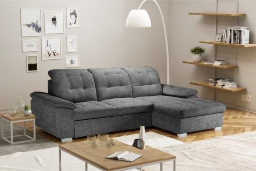 Угловой диван с кроватью и регулируемыми подголовниками - Windzor. Правый угол. Серая ткань (Alfa 19)