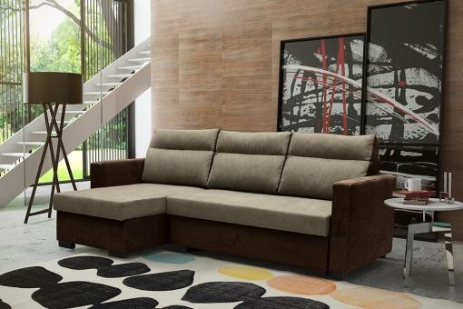 """Угловой диван-кровать с системой """"лёгкая транcформация"""" - Edmonton. Коричневый цвет. Левый угол"""