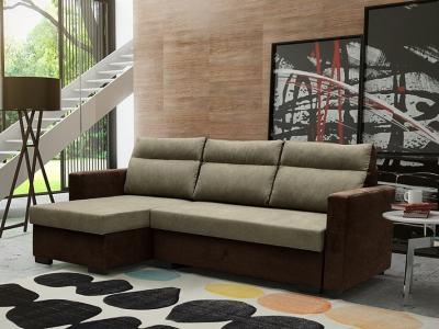 Sofá chaise longue cama despliegue fácil. Color marrón - Edmonton. Chaise longue lado izquierdo