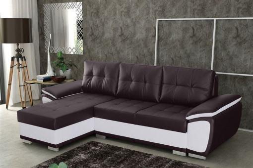 Sofá chaise longue cama en polipiel marrón y blanca - Kingston. Chaise longue lado izquierdo