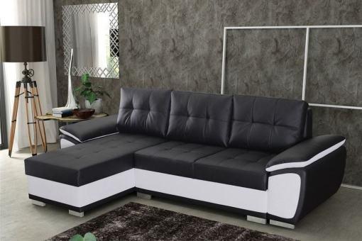 Угловой диван кровать, искусственная кожа - Kingston. Чёрный и белый кожзаменители. Угол слева