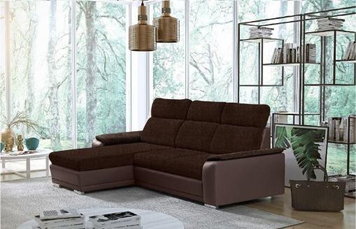 Sofá chaise longue reversible con cama - Vancouver. Color marrón (Tela Inari 28, polipiel Soft 66). Chaise longue al lado izquierdo