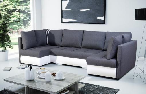 Sofá en U pequeño con cama, 2 chaise longues y 3 arcones. Tela gris, polipiel blanca - Bora