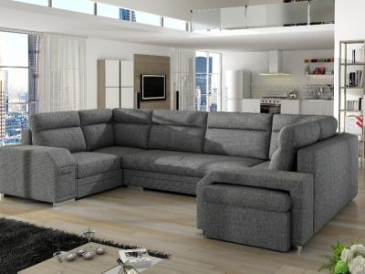 Spacious U-shaped Sofa Bed with 3 Storages - Baia. Grey Fabric. Right Corner