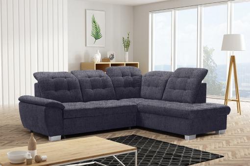 Corner Sofa with High Backrest, Reclining Headrests, Bed and Storage - Hamilton. Right Corner. Dark Grey Fabric - Inari 94