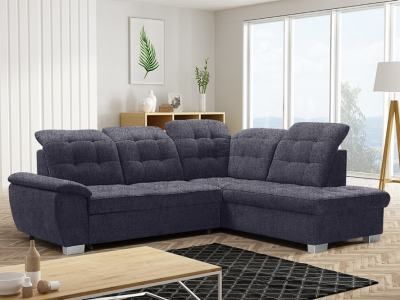 Corner Sofa with High Backrest, Reclining Headrests, Bed and Storage - Hamilton. Right Corner. Dark Grey Fabric - Inari 94