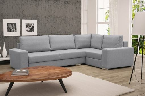 Corner Sofa with Folding Bed and Storage - Harbour. Light Grey Fabric, Right Corner