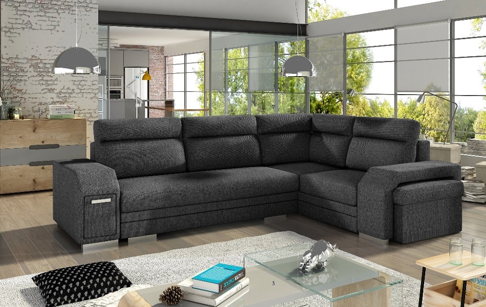Large Corner Sofa With Pouffe Pull Out Bed Storage