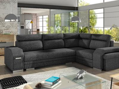 Corner Sofa with Folding Bed, Pouffe, 2 Storage Compartments. Grey Fabric All-over. Corner on the Right – Aruba