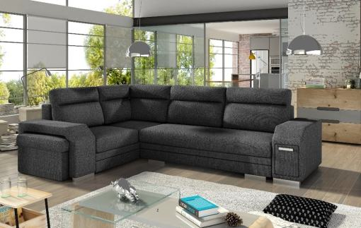 Corner Sofa with Folding Bed, Pouffe, 2 Storage Compartments. Grey Fabric All-over. Corner on the Left  – Aruba