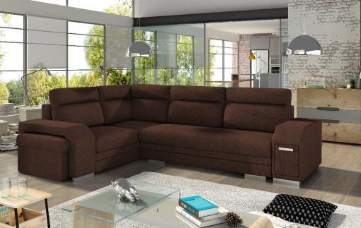 Sofá rinconera con cama, puf, cajón lateral (minibar) y 2 arcones. Color marrón sólido. Esquina lado izquierdo - Aruba