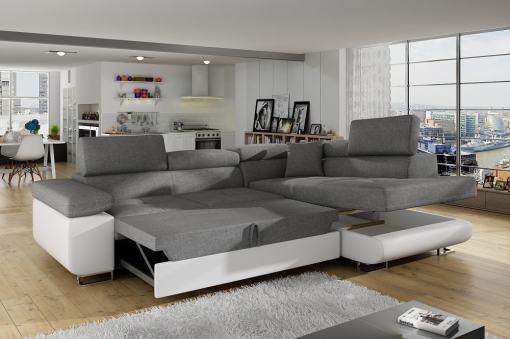 Cama extraíble y arcón. Sofá rinconera cama con arcón y reposacabezas reclinables - Manchester