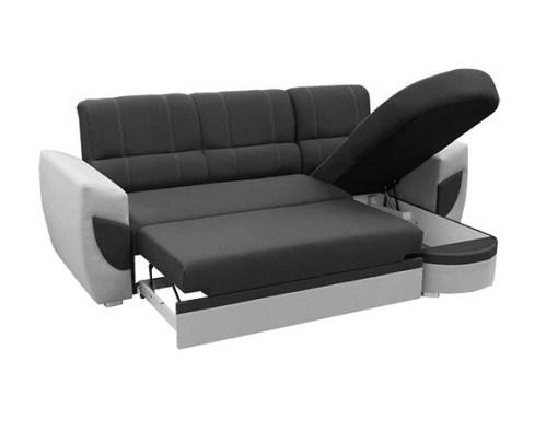 Cama y arcón abiertos. Sofá cama con chaise longue curvo de diseño - Alpera