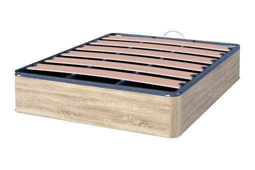 Canapé abatible económico con tapa somier de láminas - Easy. Color cambria (marrón claro)