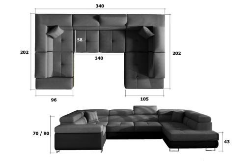 Dimensions of the Modern U-shaped Sofa (2 Chaise Longues) with Bed and Storage - Coventry
