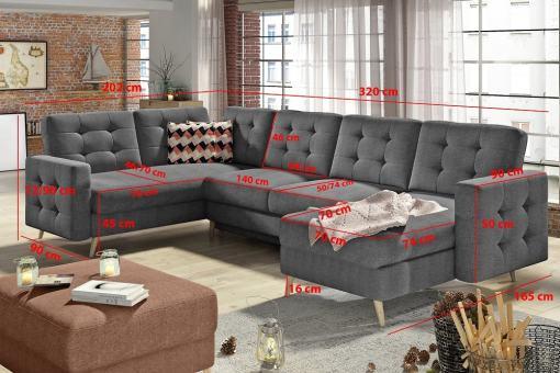 Medidas del sofá rinconera en forma de U modelo Copenhagen