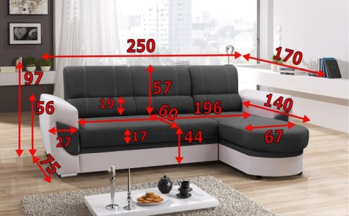 Dimensions. Sofa Bed with Chaise Longue and Storage - Alpera