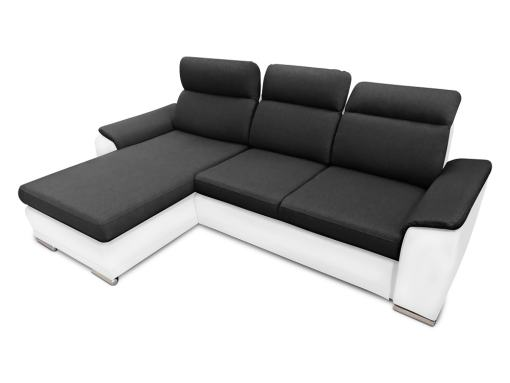 Comfortable Reclining Headrests. Chaise Longue Sofa in Black and White Sofa – Vancouver