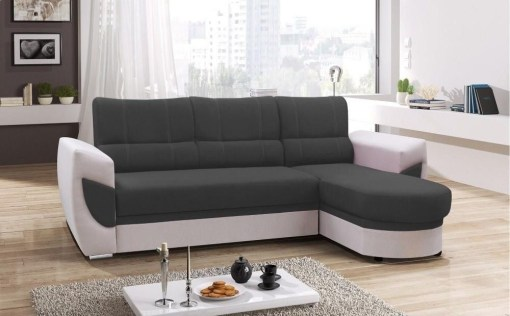 Sofa Bed with Chaise Longue and Storage - Alpera. Grey and White Colours. Chaise Longue on the Right