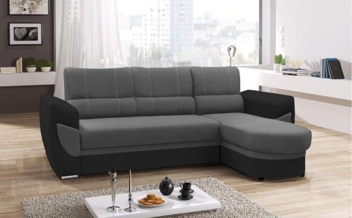 Sofa Bed with Chaise Longue and Storage - Alpera. Grey and Black Colours. Chaise Longue on the Right