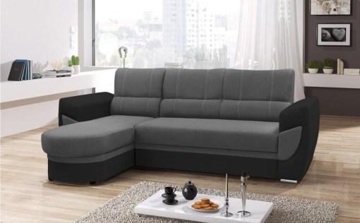 Sofá cama con chaise longue curvo de diseño - Alpera. Gris, negro. Chaise longue lado izquierdo