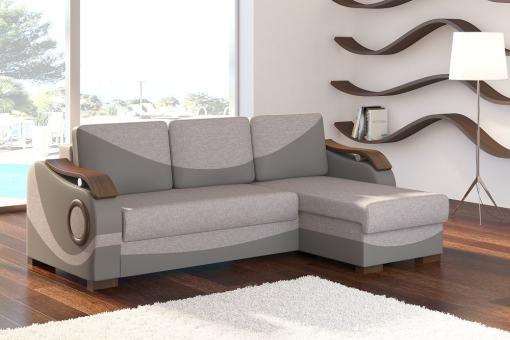 Sofá chaise longue cama con reposabrazos de madera - Leeds. Tela gris (Sawana 21) - polipiel gris (Soft 29). Chaise longue lado derecho