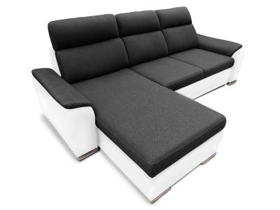 Chaise Longue Sofa with Pull-out Bed and Storage in Black and White Sofa – Vancouver