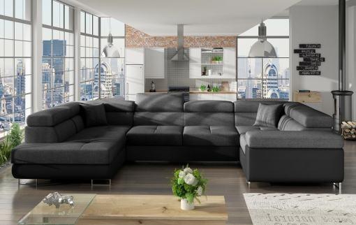 Sofá en U moderno (2 chaiselongs) con cama y arcón - Coventry. Esquina lado derecho. Tela gris oscuro (Inari 96) - Polipiel negra (Soft 11)