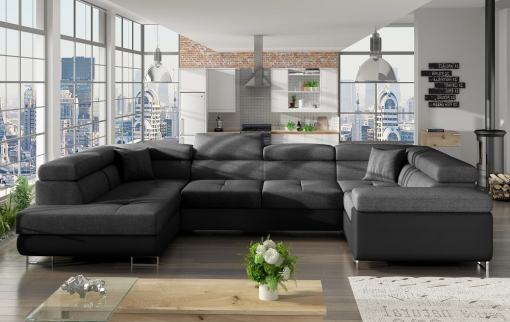 Modern U-shaped Sofa (2 Chaise Longues) with Bed and Storage - Coventry. Dark Grey Fabric. Black Faux Leather. Corner on the Right
