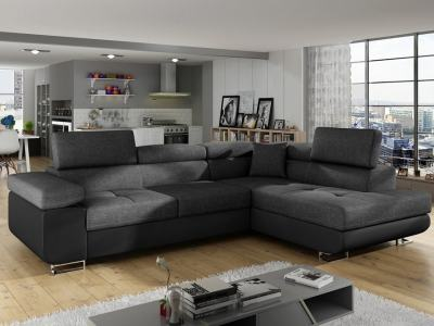Corner Sofa Bed with Storage Upholstered in Fabric and Synthetic Leather - Manchester. Dark Grey Fabric, Black Faux Leather. Corner on the Right
