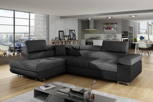 Sofá rinconera cama con arcón y reposacabezas reclinables - Manchester. Esquina lado izquierdo. Colores gris oscuro(tela inari 96) y piel sintética negra(soft 11)