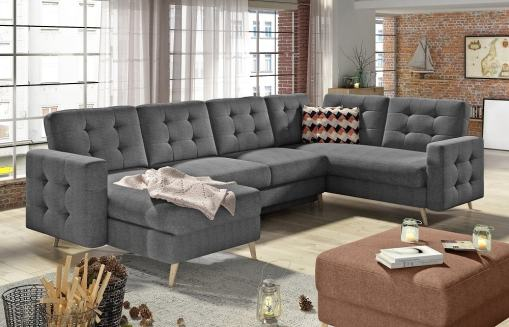 U-shaped Corner Sofa Convertible Into Bed - Copenhagen. Right Corner. Grey Fabric