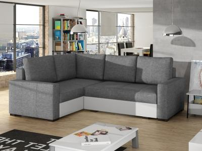 Small corner sofa with bed and storage - Brighton. Light grey fabric. White faux leather. Corner on the left