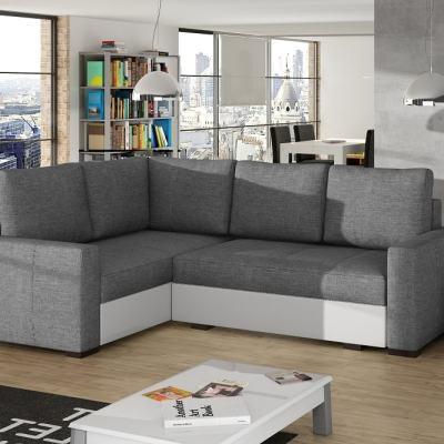 Маленький угловой диван кровать с отделениями для хранения белья - Brighton. Левый угол. Светло-серый и белый цвета