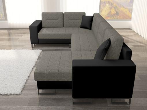 Vista lateral (reposabrazo). Sofá en U económico con cama y 2 arcones modelo Bristol