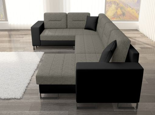 Side View (Armrest). U-shaped Sofa with Pull-out Bed - Bristol