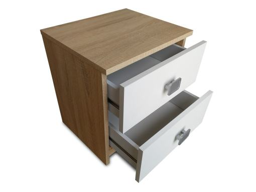 Two Opened Drawers of the Rimini Bedside Table in White and Brown