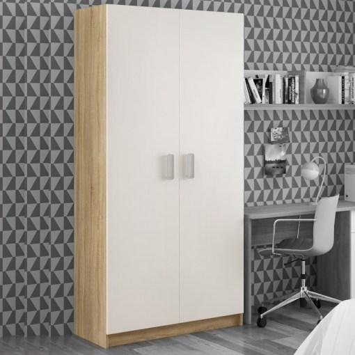 Armario de dos puertas en blanco y laterales roble vertical - Rimini