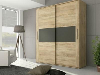 2 door sliding wardrobe - Cremona. Brown color with grey front elements