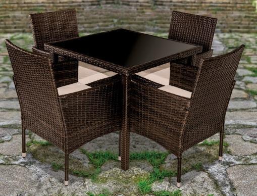 Conjunto jardín mesa cuadrada + 4 sillas con brazos - Abril