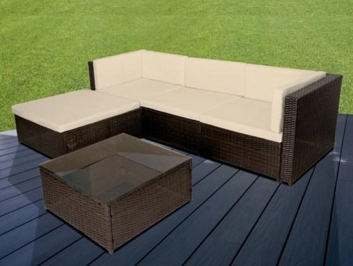 Conjunto para jardín sofá chaise longue y mesa de centro en ratán sintético – Mayo